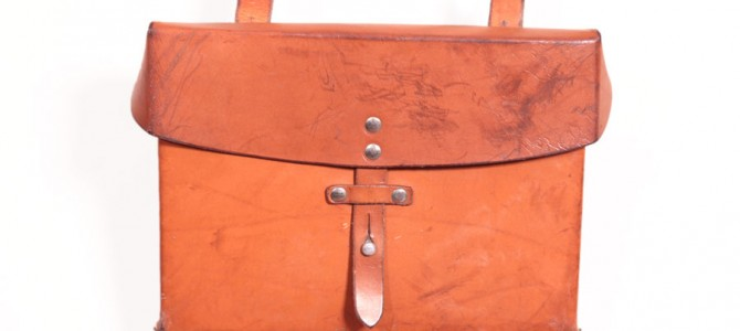 1970's Swiss army leather shoulder bag