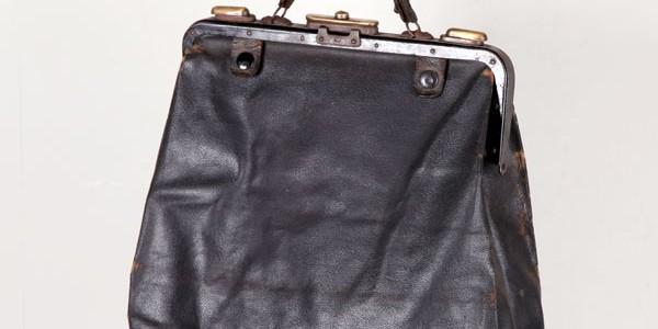 1930's black leather handbag