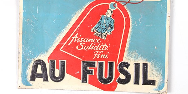 1930's french sheet iron trade sign