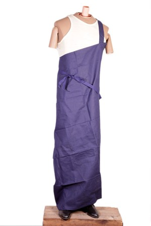 1930's french indigo linen apron