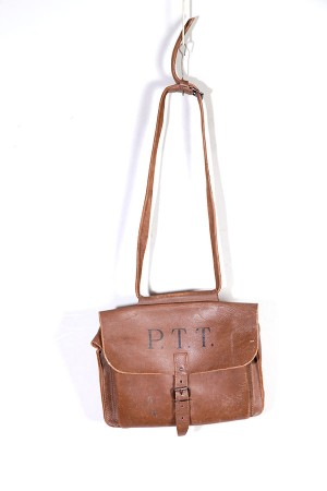 1950's french postman leather bag