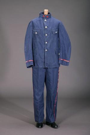 1920's indigo herringbone twill fireman suit