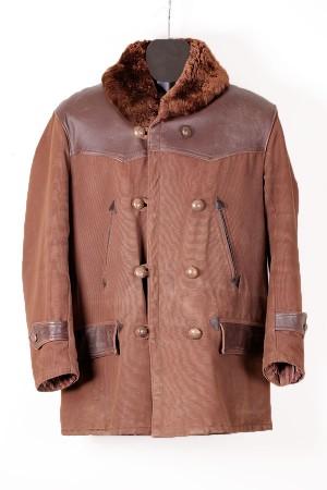 1950's french leather & canvas mackinaw jacket