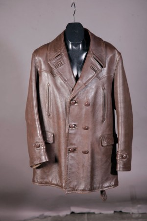 1950's french leather mackinaw jacket