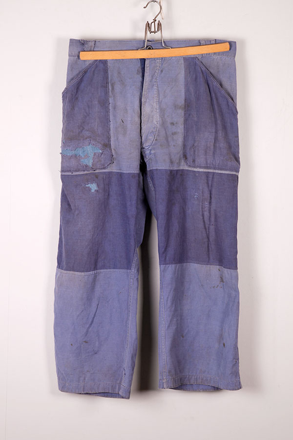 1950's indigo linen patched work pants