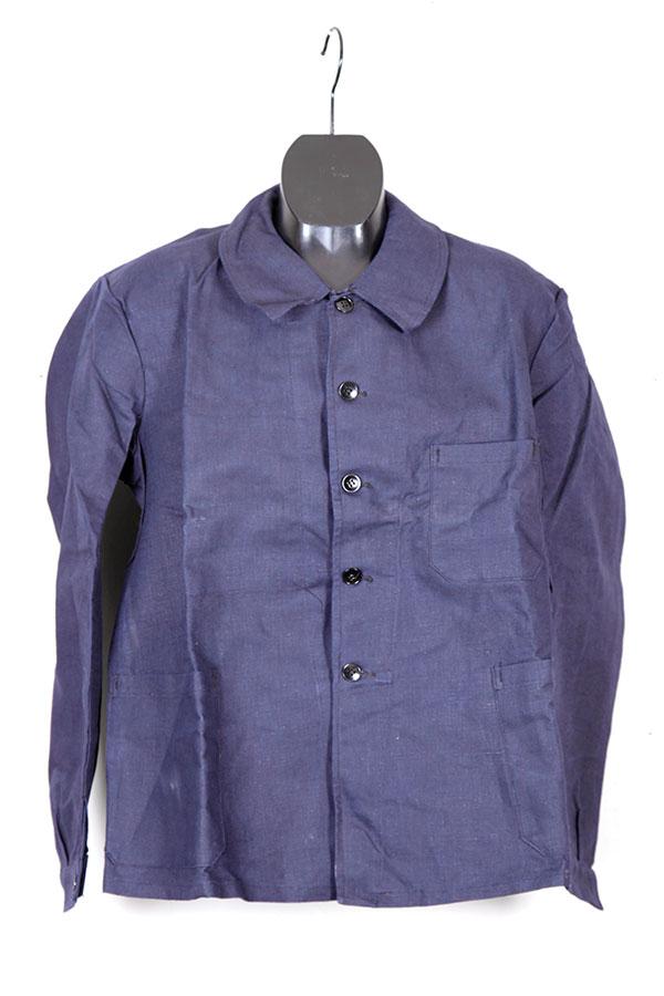 1930's french dark indigo linen chore jacket