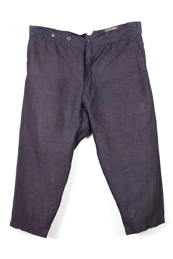 vintage 1930's Le Chaland french indigo linen pants