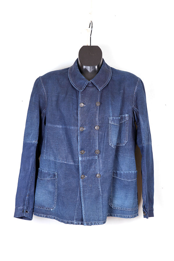 1930's french faded indigo double-breasted linen chore jacket