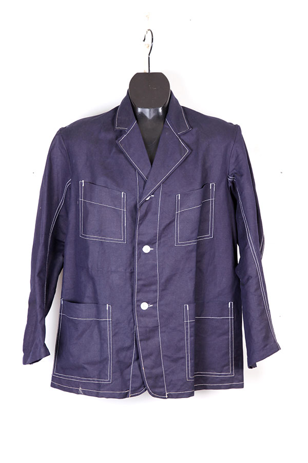 1930's french Le Chaland indigo linen chore jacket