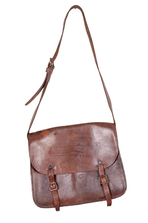 1940's french miner leather shoulder bag
