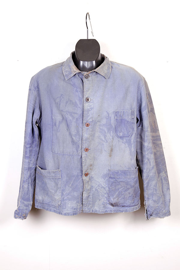1940's french indigo linen Le Pigeon Voyageur chore jacket