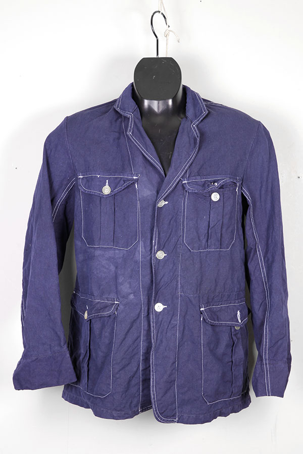 1950's french Le Musclet indigo linen chore jacket