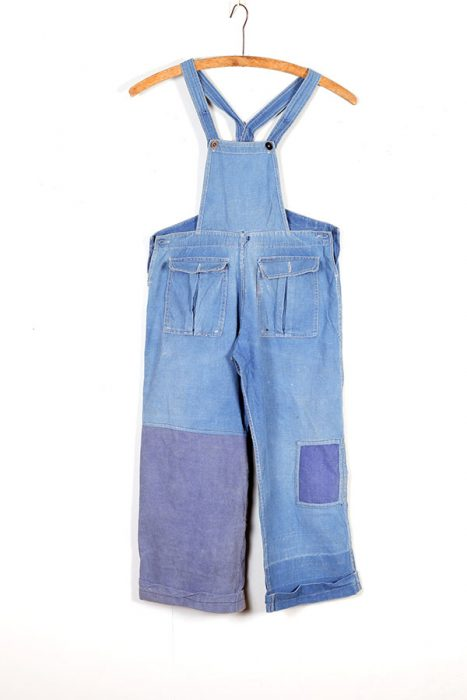 1930's kids french indigo linen overall