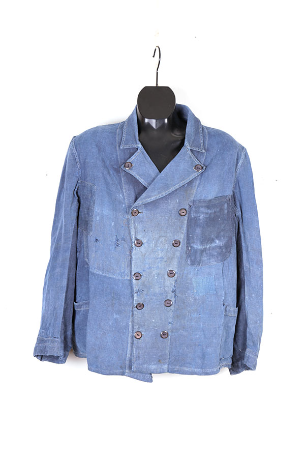 1930's french Villette double-breasted indigo linen jacket