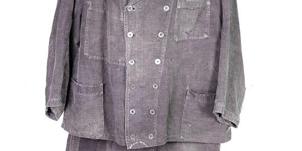 1930's black linen Villette work suit