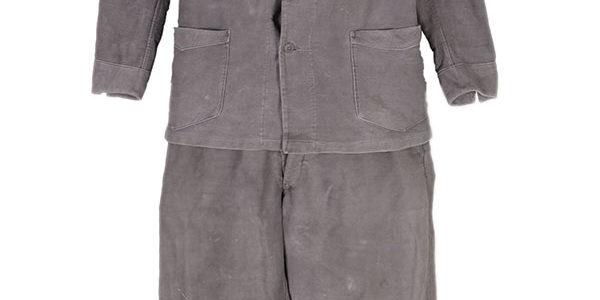 1930's french black moleskin work suit