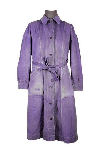 1950's french indigo linen woman atelier coat