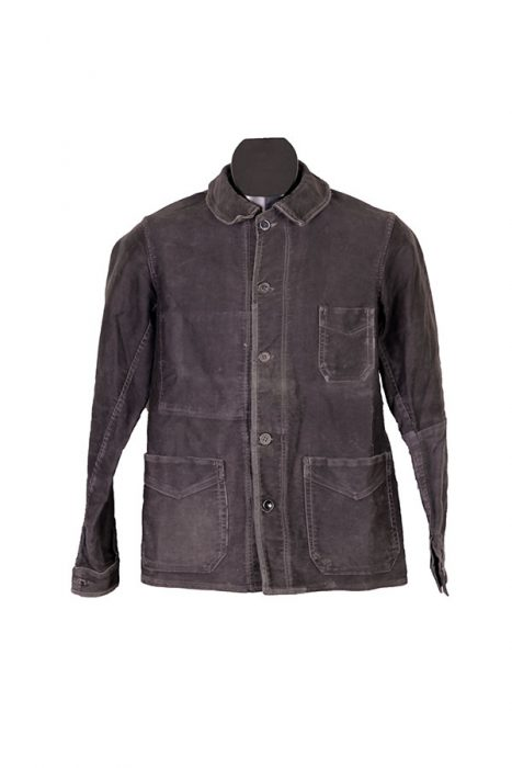 1930's french black moleskin work chore jacket
