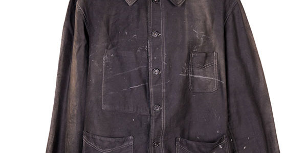 1940's french black work chore jacket