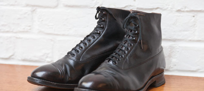1930's black leather boots