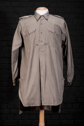 1940's french kaki linen work shirt