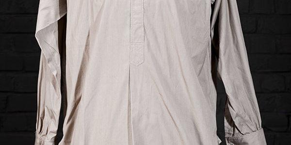 1930's french kaki linen work shirt