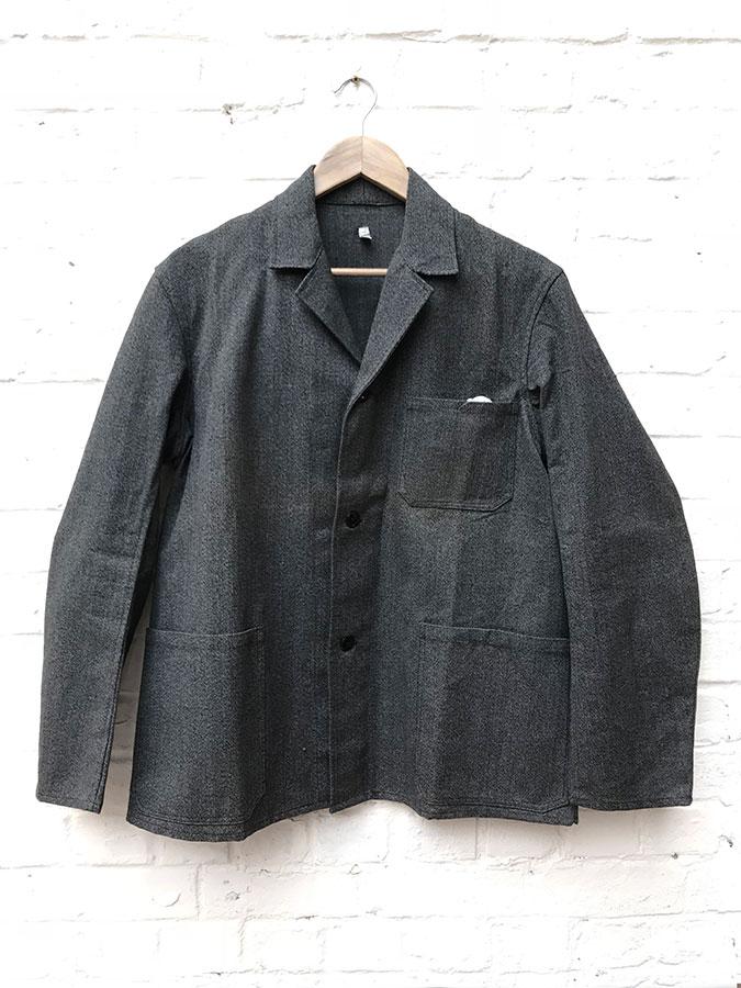1950's belgian salt & pepper chambray work shore jacket
