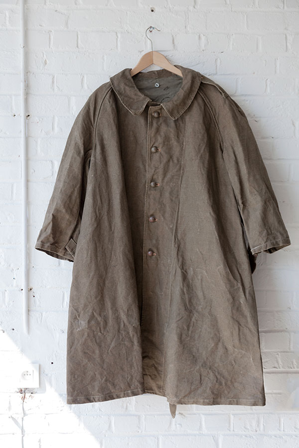 french army linen coat, loiseauraretournai, lemagasin