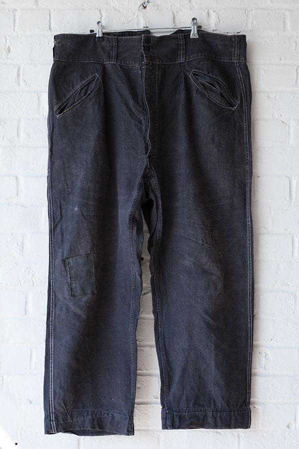 bleu villette linen pants, vintage, french workwear