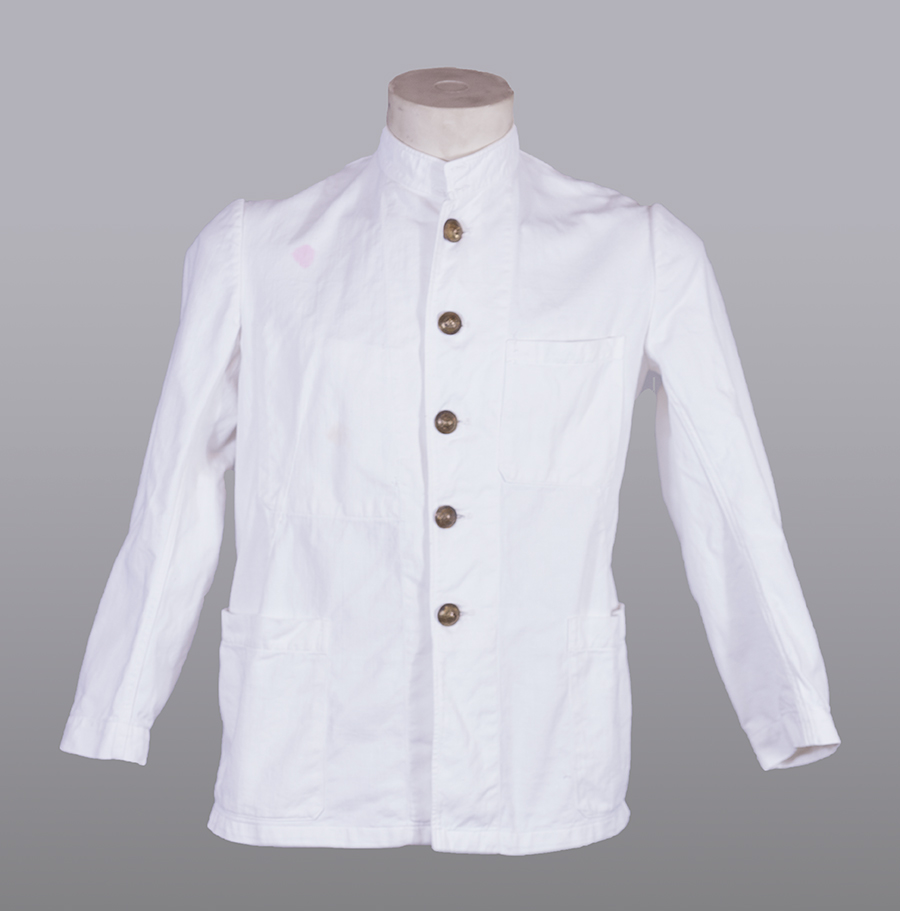 1950's french fireman white work jacket