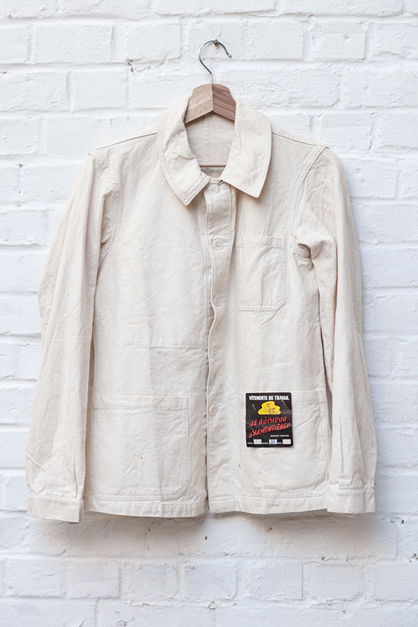 1950's french raw linen chore jacket