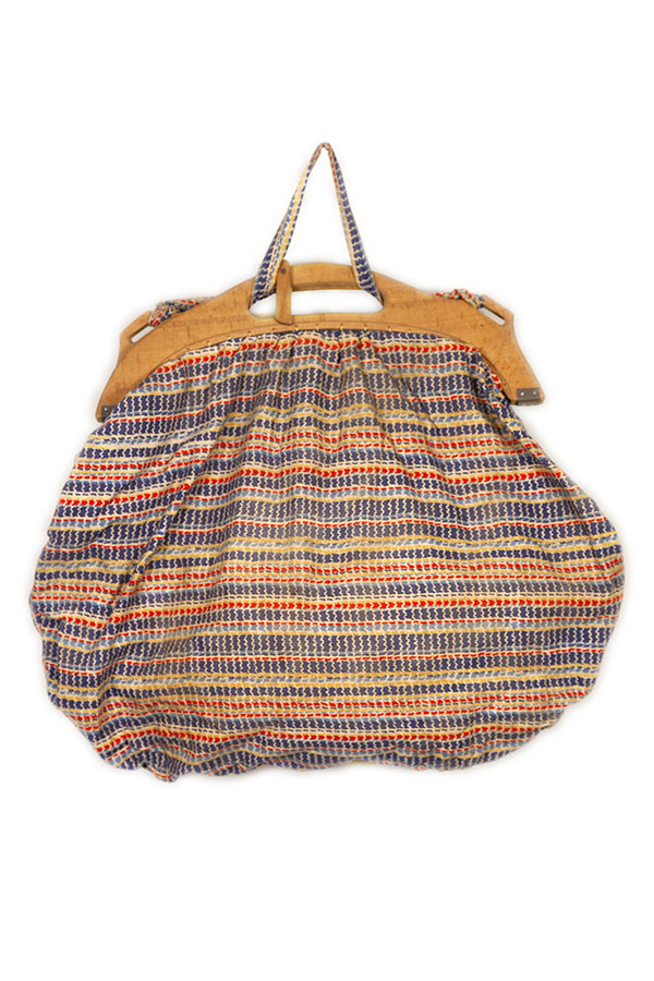 1930's french fabric & wood ladies handbag