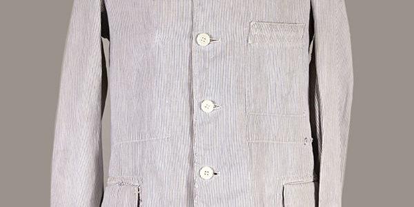 1930's La Belle Jardiniere french butcher jacket