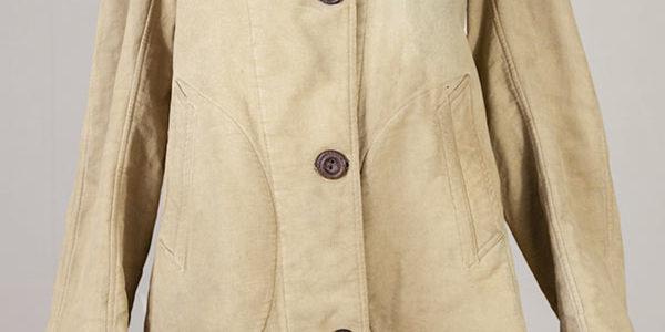 1940's french woman beige moleskin coat