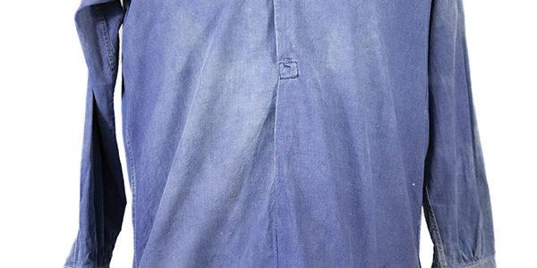 1930's french indigo linen work shirt