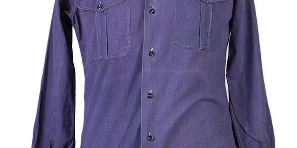 1950's french indigo linen military shirt