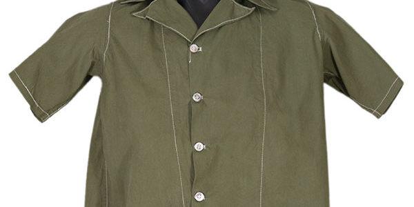 1950's short sleeves olive green linen shirt