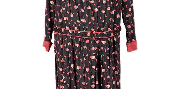 1940's french raw silk printed dress