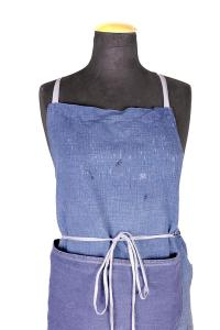 1940's french indigo linen work apron