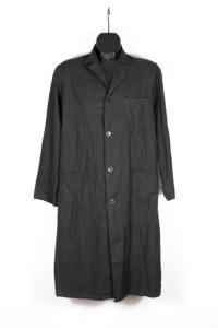 1950's french black linen work coat