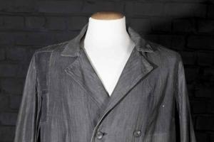 1950's french double-breasted herringbone atelier coat