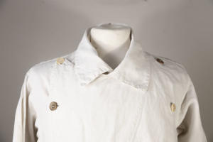 1930's-40's french white linen double-breasted coat, lemagasin, le magasin