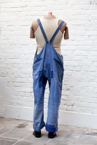 1930's Le Durable french indigo linen overall