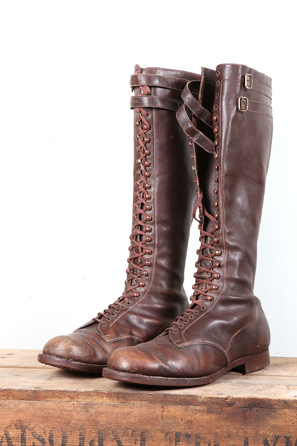1930 S Tall Leather Lace Up Boots
