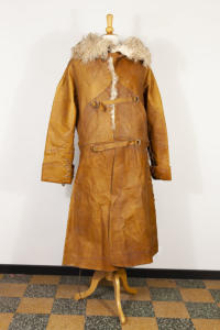 long leather french unknown coat
