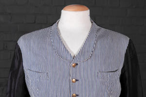1930's french blue striped servant jacket