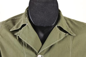 1950's short sleeves olive linen shirt, lemagasin, le magasin