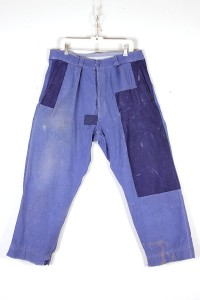 1950's french indigo linen pants