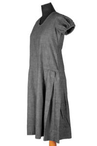 1930's french grey linen work dresses, lemagasin, le magasin