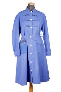 1930's french indigo linen woman work dress